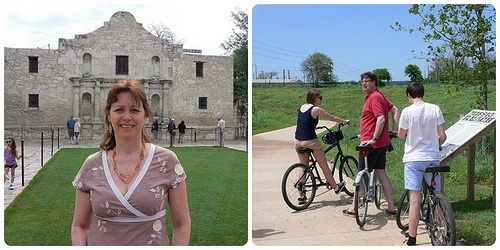 Left: The Alamo in San Antonio Right: Cycling along Mission Reach Photo: Heatheronhertravels.com