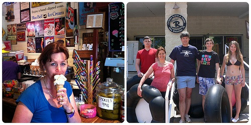 Left: Ice Cream in Gruene Right: Tubing at Rockin R, Gruene Photo: Heatheronhertravels.com
