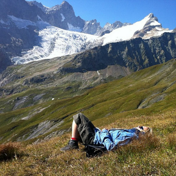 My friend Julia takes a break on the Grand Col Ferret 2537m Photo: Heatheronhertravels.com