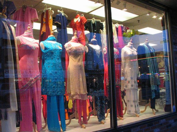 Salwar kameez in the window Photo:  litlnemo of Flickr