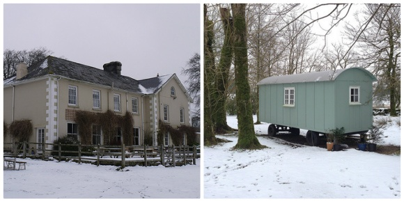 Prince Hall Hotel, Dartmoor, Devon with Shepherd's hut in the grounds Photo: Heatheronhertravels.com