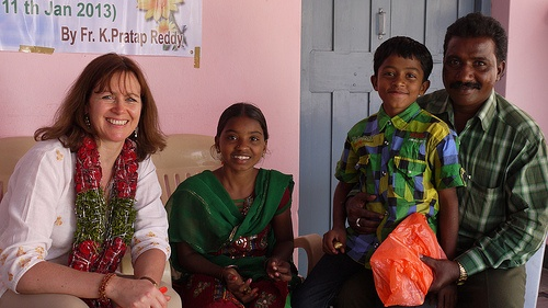 Meeting my sponsor child and her family in India Photo: Heatheronhertravels.com