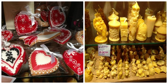Honey, beeswax candles and heart biscuits in Budapest Photo: Heatheronhertravels.com
