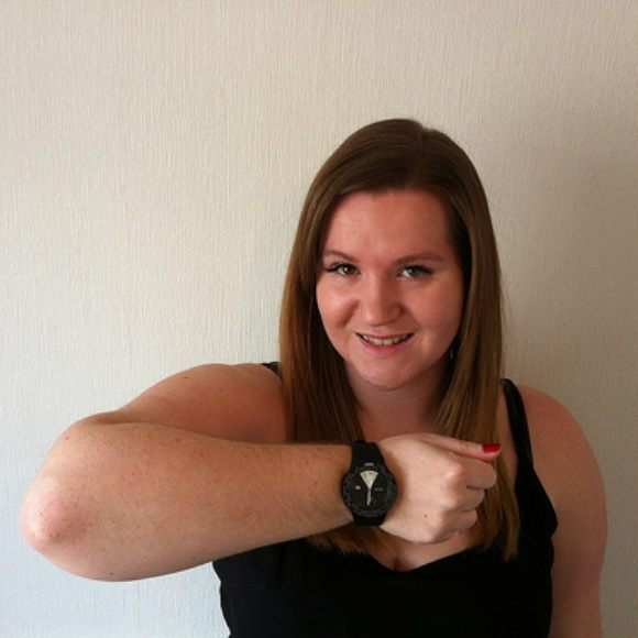 Emma Gray tries out the Atop Timezone Watch Photo: Emma Gray for Heatheronhertravels.com