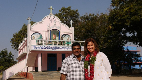 With Father Pratap Reddy at Nandikotkur Photo: Heatheronhertravels.com