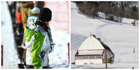 Left: Magic Carpet at Wolf Mountain Right: Base lodge at Wolf Mountain