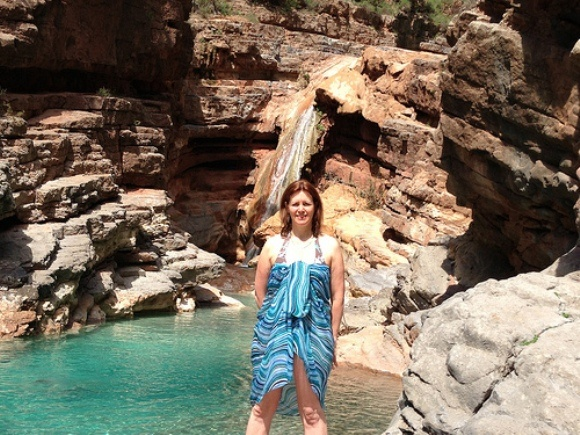 Heather at the final pool and waterfall at Paradise Valley, Morocco Photo: Heatheronhertravels.com