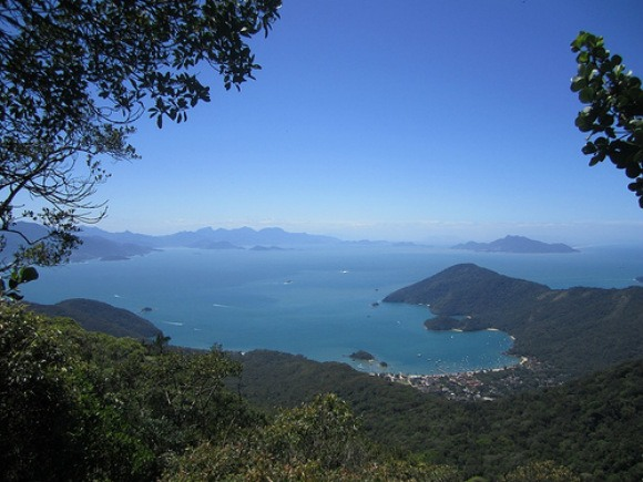 Looking down over Abraao, Ilha Grande in Brazil Photo: Neil Robertson
