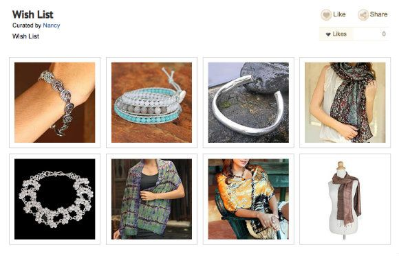 Nancy's wish list, using the Novica Curation feature