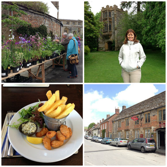 Cerne Abbas, Dorset - Clockwise from top left;  Plants on sale for Gardens open day, Cerne Abbey, The New Inn, Scampi and chips at the New Inn Photo: Heatheronhertravels.com