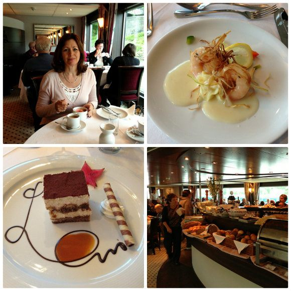 Clockwise from Top Left: Heather enjoys breakfast, an entree of prawns served for dinner, the breakfast buffet, a desert at dinner on the Amadeus Princess with Lueftner Cruises