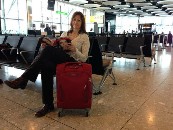 Me and my Samsonite Panayio cabin case at Heathrow Terminal 5 Photo: Heatheronhertravels.com