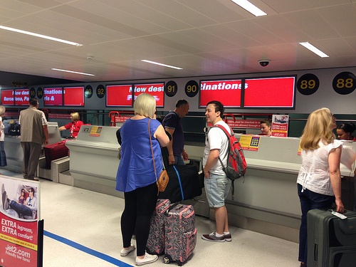 Checking in with Jet2.com at Manchester Airport Photo: Heatheronhertravels.com