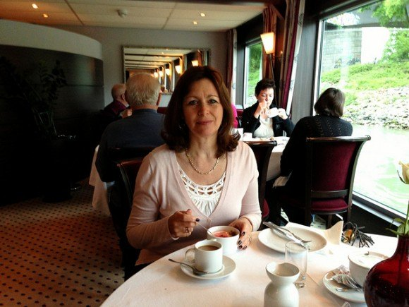 At breakfast on my Rhine river cruise Photo: Heatheronhertravels.com