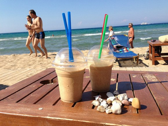 Frappuccino on Ionian beach, Zakynthos, Greece Photo: Heatheronhertravels.com