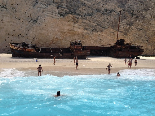 Navagio or Shipwreck cove on Zante, Greece Photo: Heatheronhertravels.com