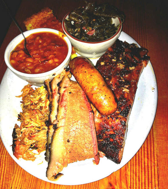 Meat plate from Podnah's BBQ in Portland Photo: Double-barrelledtravel.com