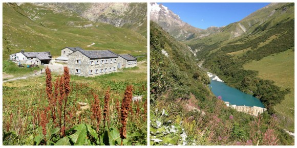 Left: Auberge de Mottets, Right: Reservoir near Chapieux on the Tour de Mont Blanc Photo: Heatheronhertravels.com