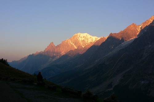 Sunset over Mont Blanc seen from Rifugio Bonatti on the Italian side Photo: Heatheronhertravels.com