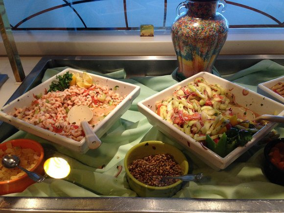Salads in Horizon Court on Crown Princess Photo: Heatheronhertravels.com