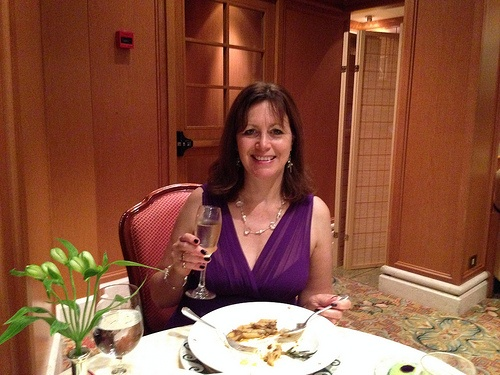 Enjoying dinner on board Crown Princess Photo: Heatheronhertravels.com