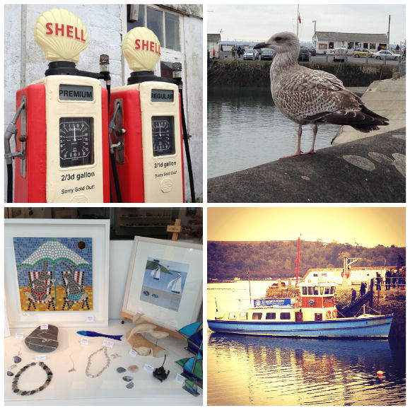 Top Left: Vintage petrol pumps in St Mawes, Top Right: Hungry seagull eyes up our Cornish Pasty, Bottom Right: The St Mawes Ferry to Falmouth, Bottom Left: Waterside Gallery in St Mawes Photo: Heatheronhertravels.com