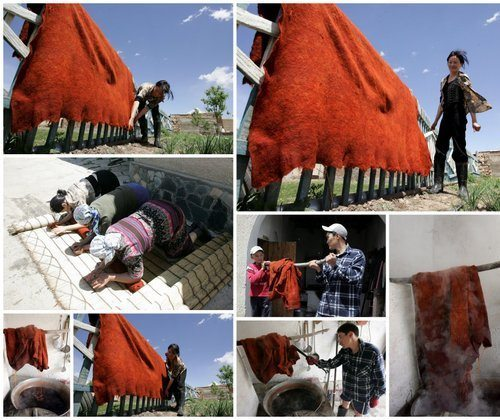 Dyeing felt in Kyrgyzstan Photo: Globein.com