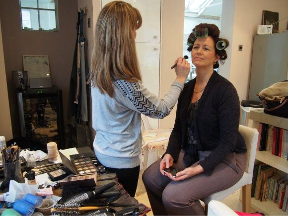 Having my make-up done for the Woman and Home shoot Photo: Heatheronhertravels.com