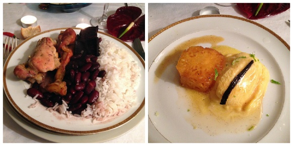 Left: Creole style chicken with rice and beans, Right: Cooked pineapple with mango ice cream Photo: Heatheronhertravels.com