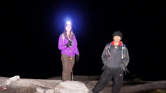 Danielle and our guide, Nash, on the pitch black mountain at 3am
