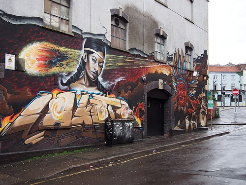 Mural on Lakota nightclub off Stokes Croft, Bristol Photo: Heatheronhertravels.com
