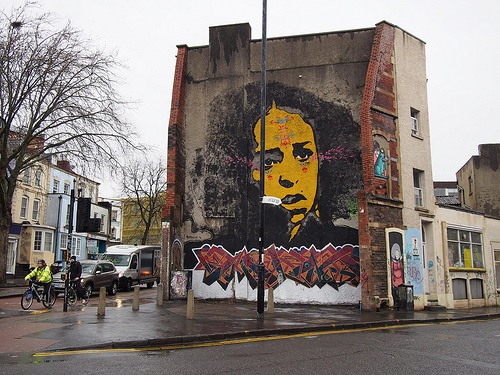 Street art mural on Stokes Croft, Bristol Photo: Heatheronhertravels.com