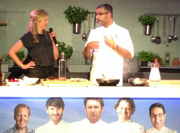 Chef Atul Kochhar demonstrates one of the Indian dishes from his fine dining restaurant Sindhu on board Britannia