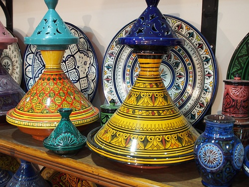 Painted tagines in the Souk at Marrakech Photo: Heatheronhertravels.com