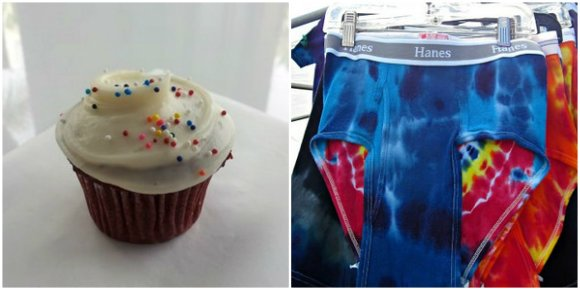 Left: Cup cake at Hermosa Beach Right: Hippie Underwear at Fiesta Hermosa