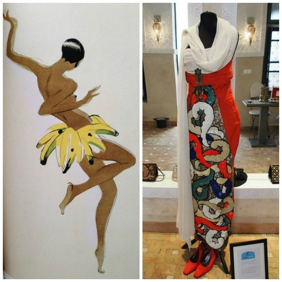 Left: Josephine Baker dancing in her banana skirt Right: Dress worn by Josephine Baker in Paris Photo: Heatheronhertravels.com