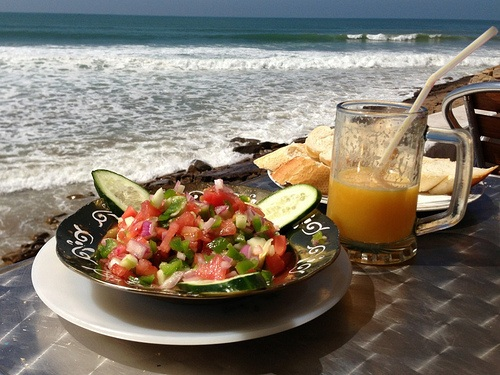 Moroccan Salad and orange juice at Taghazout in Morocco Photo: Heatheronhertravels.com