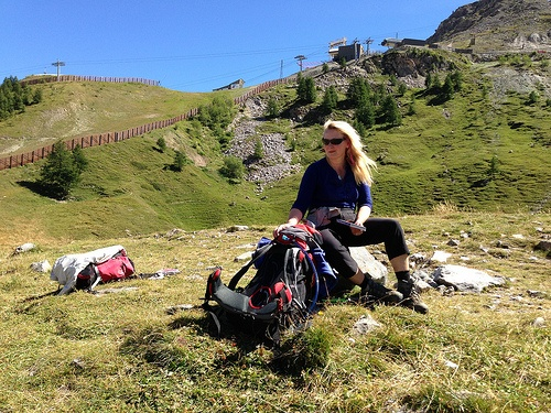 My friend Julia with her rucksack on the Tour de Mont Blanc Photo: Heatheronhertravels.com