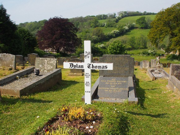 Grave of Dylan and Caitlin Thomas at St Martin's church in Laugharne, Wales