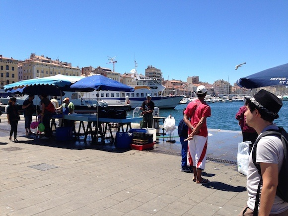 Fish stalls on the quay at Marseille Photo: Heatheronhertravels.com