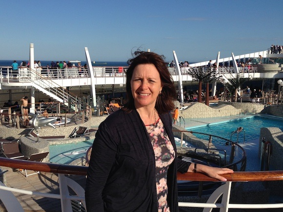 Heather aboard the MSC Splendida; Heatheronhertravels