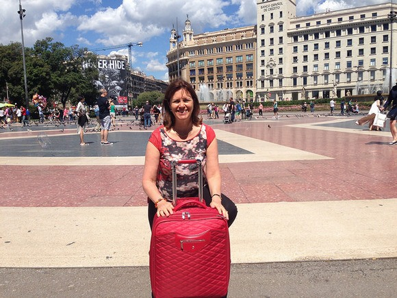 Arrived at Placa Catalunya in Barcelona with my Knomo case