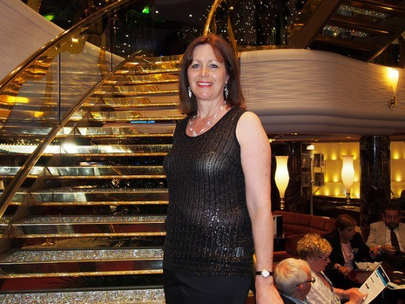 Gala night on MSC Splendida with my Eileen Fisher sparkly evening top