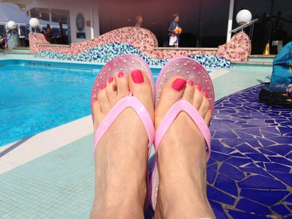 On board MSC Splendida with my FlopZ flip flops Photo: Heatheronhertravels.com