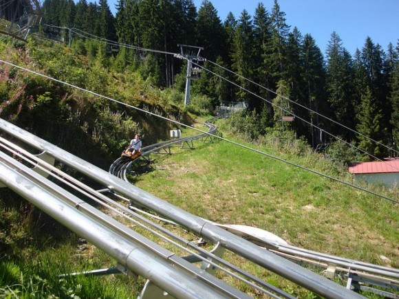 Teenagers and speed lovers enjoy the Ramsau toboggan run