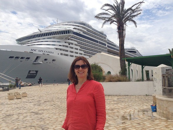 Ready to board MSC Splendida at Tunis wearing my Eileen Fisher linen top