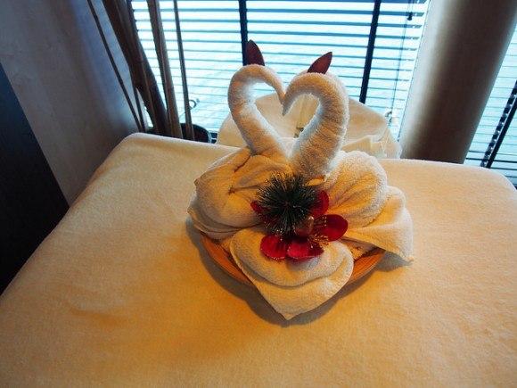 Swan towels in the Aurea spa on MSC Splendida with MSC Cruises