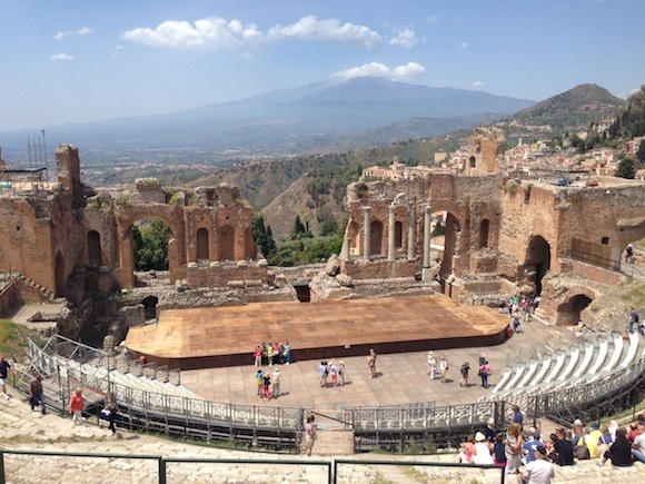 The Greek theatre at Taormina on our cruise stop with MSC Cruises Photo: Heatheronhertravels.com