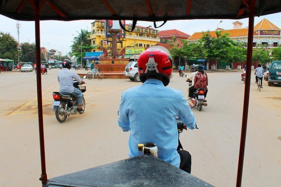 View from a tuk-tuk, heading to Angkor