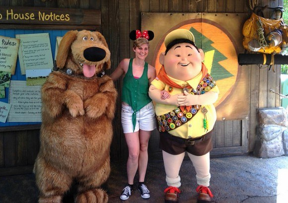 Having fun with the characters at Disneyworld